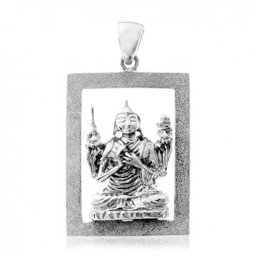 Lama Tsongkhapa 3D Emptiness Rectangular Pendant with Diamond Sand Finish (Junior)