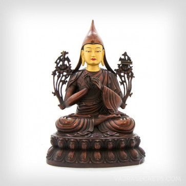 Lama Tsongkhapa Brass Statue With Oxidised Finish, 12 Inches