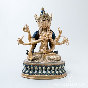 Namgyalma Gold and Antique Brass Statue, 9 inches