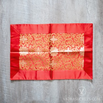 Tibetan Brocade Table Cover, Red (Medium)