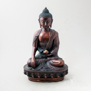 Shakyamuni Brass Statue with Oxidised Finish, 12 inches