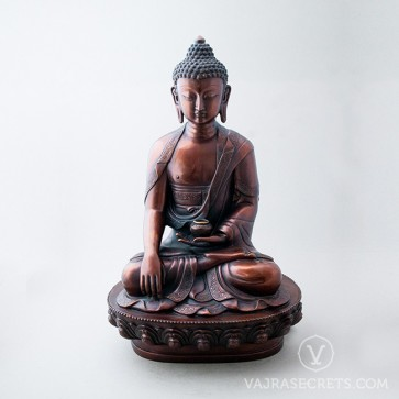 Shakyamuni Brass Statue with Oxidised Finish, 18 inches
