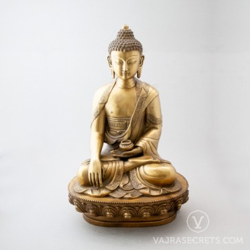 Shakyamuni Brass Statue with Gold Finish, 18 inches
