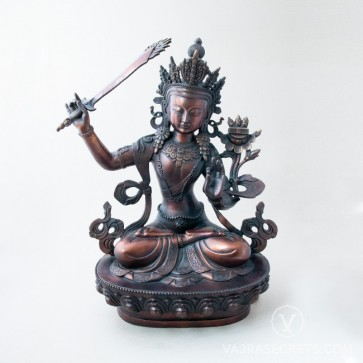 Manjushri Brass Statue with Oxidised Finish, 18 inches