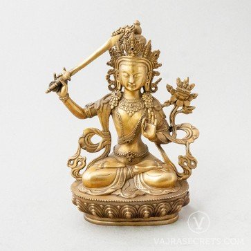 Manjushri Brass Statue with Gold Finish, 9 inches