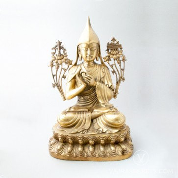 Lama Tsongkhapa Brass Statue with Gold Finish, 20 inches