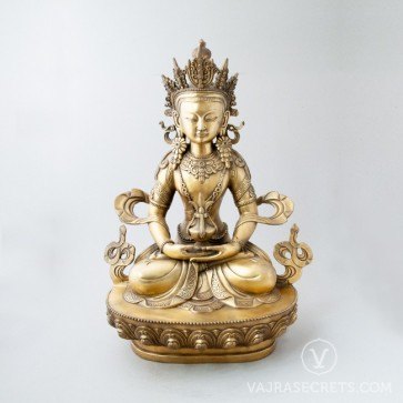 Amitayus Brass Statue with Gold Finish, 18 inches