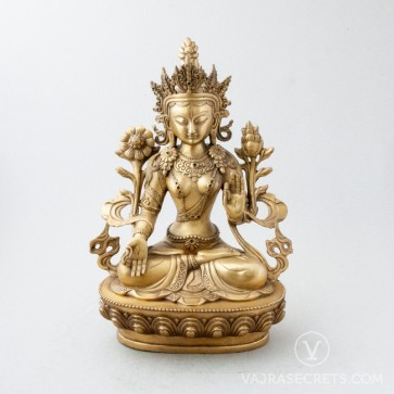 White Tara Brass Statue with Gold Finish, 12 inches
