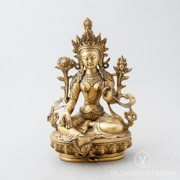 Green Tara Brass Statue with Gold Finish, 8 inches