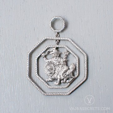 Limited Edition Dorje Shugden Double Octagon White Gold Pendant
