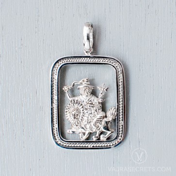 Limited Edition Dorje Shugden Rectangular White Gold Pendant