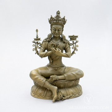 Dream Manjushri Brass Statue with Gold Finish, 7 inches