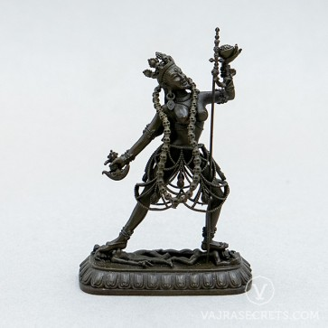 Vajrayogini Brass Statue with Oxidised Finish, 2.75 inches