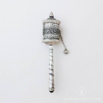 Blessed Vajrayogini Prayer Wheel with Silver Filigree, 8.1 inches