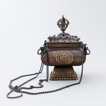 Square Tibetan Hanging Incense Burner, 5 inches