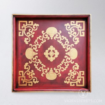 Tibetan Square Tray with Conch Shell Motif