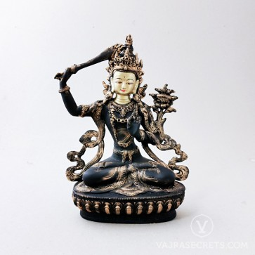 Manjushri Brass Statue with Antique Finish, 9 inches
