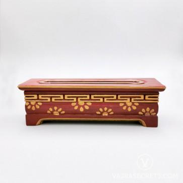 Tibetan Wooden Incense Burner with Gold Floral Motif (Medium)