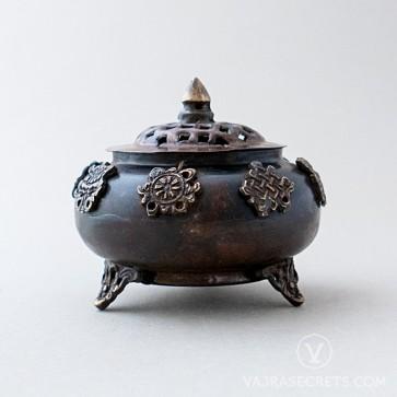 Tibetan Metal Incense Burner, 4.3 inches