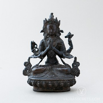 Chenrezig (4-armed) Copper Statue with Oxidised Finish, 6 inches