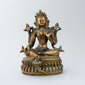Antique Green Tara Copper Statue with Gold Finish, 8.4 inches