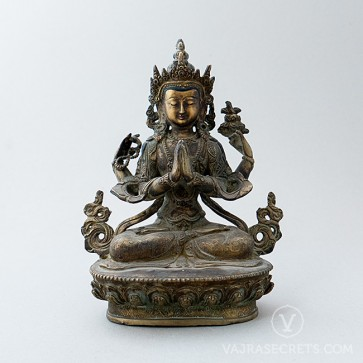Chenrezig (4-armed) Copper Statue with Antique Finish, 8.9 inches