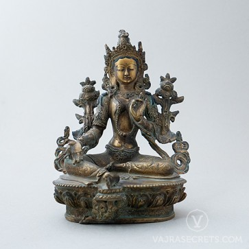 Green Tara Copper Statue with Antique Finish, 8.5 inches