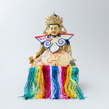 Dzambala Brass Statue with Traditional Ornaments, 9.4 inches
