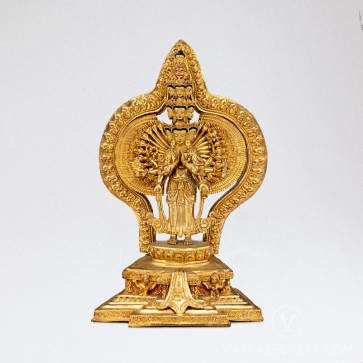 Chenrezig (1000-Armed) Gold Statue, 13 inches