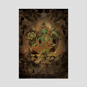 Green Tara Thangka (Vintage Effect)