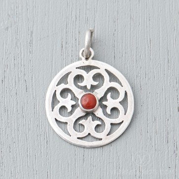 Coral Lotus Sterling Silver Pendant