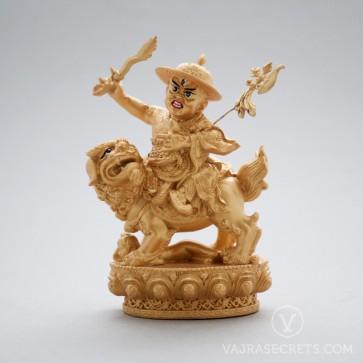 Dorje Shugden Gold Resin Statue, 5.5 inches