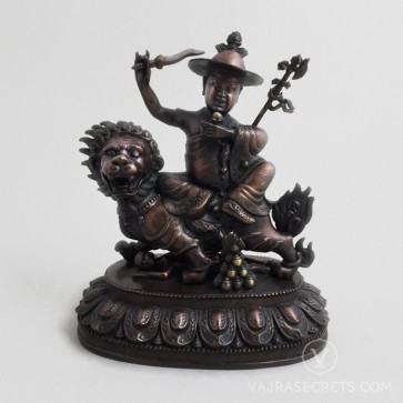 Dorje Shugden Brass Statue with Oxidised Finish, 8 inches