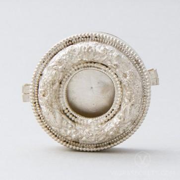 Round Tibetan Gau Prayer Box, Silver (Small)