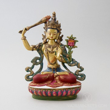 Manjushri Colourful Brass Statue, 9 inches