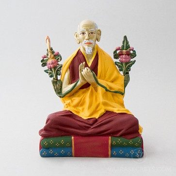 H.H. Zong Rinpoche Colourful Brass Statue, 8 inches