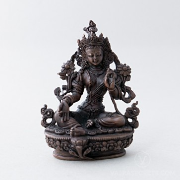 Green Tara Copper Statue, 3.5 inches