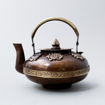 Brass Flat Teapot with Antique Finish, 3 inches