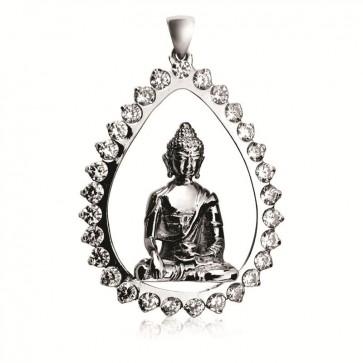 Shakyamuni Teardrop Pendant with Cubic Zirconia