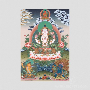Chenrezig (4-armed) Thangka