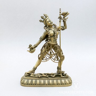 Vajrayogini Brass Statue with Gold Finish, 7 inches
