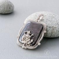 925 Silver Dorje Shugden Pendant with Black Agate
