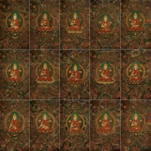 "Lama Tsongkhapa Life Story Thangkas (set of 15) 24"" x 36"""