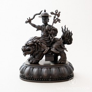 Dorje Shugden Brass Statue with Oxidised Finish, 7 inches