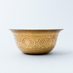 Carved Brass Offering Bowl Set, 3.9 inches