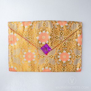 Tibetan Brocade Book Cover (Gold Floral Motif)