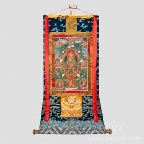 Amitayus Thangka with Silk Brocade