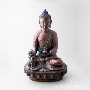 Medicine Buddha Brass Statue with Oxidised Finish, 18 inches