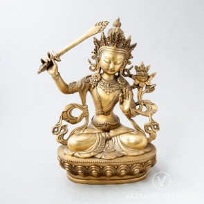 Manjushri Brass Statue with Gold Finish, 12 inches