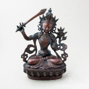 Manjushri Brass Statue with Oxidised Finish, 12 inches